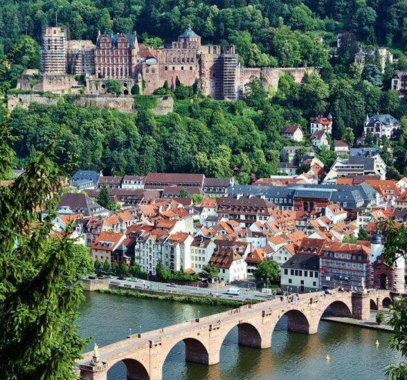 Castillo de Heidelberg desde el paseo de los Filósofos en Alemania