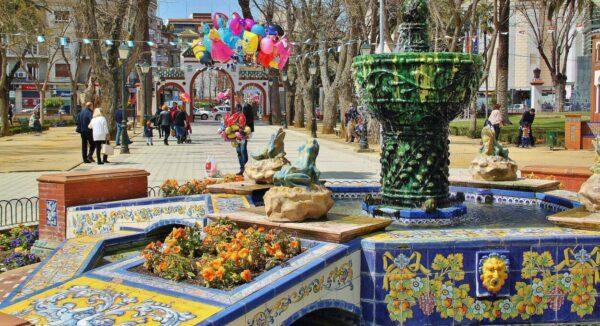 Fuente de las Ranas en los jardines del Prado en Talavera de la Reina en Toledo