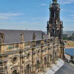 Catedral católica de Dresde desde la torre del palacio Real