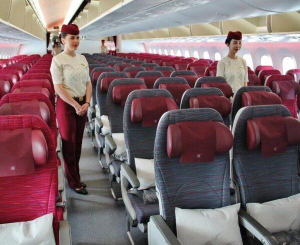 Clase Turista en el vuelo de Qatar Airways de Madrid a Doha