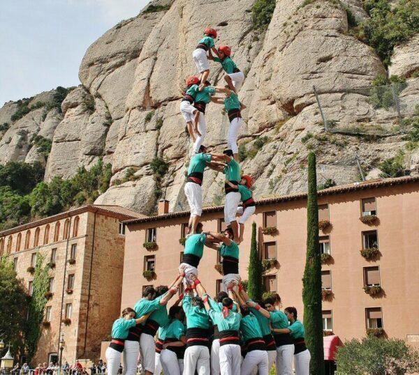 Castillo en el Monasterio de Montserrat cerca de Barcelona