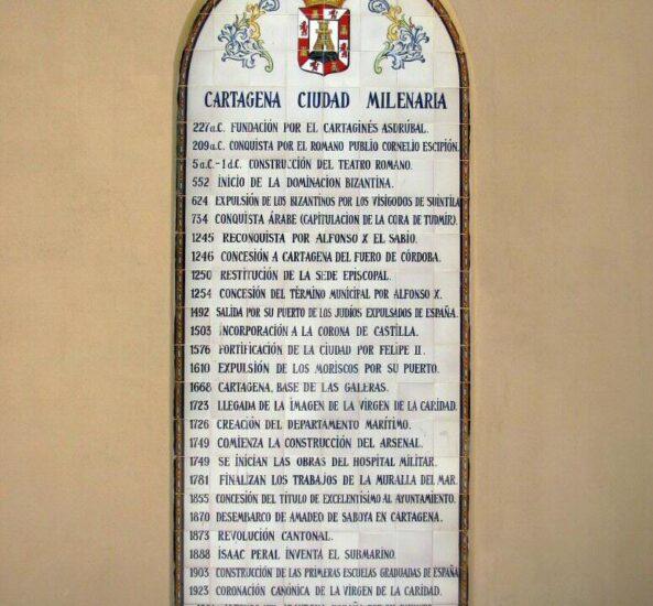 Placa con la historia de Cartagena en Murcia