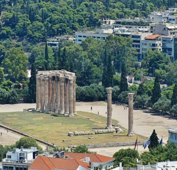Templo de Zeus desde la Acrópolis de Atenas