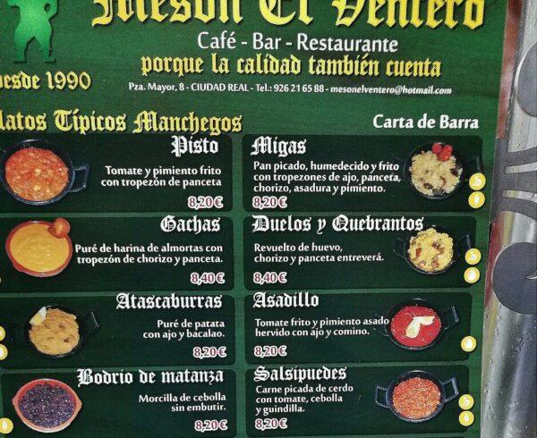 Gastronomía típica manchega en El Ventero en Ciudad Real