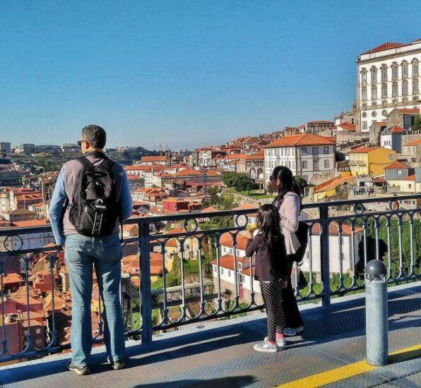 Vistas panorámicas del casco antiguo de Oporto desde el Puente Luis I