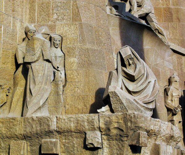 Detalle de la fachada de la Pasión en la Sagrada Familia de Barcelona