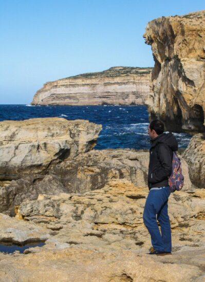 Lugar de la desaparecida Ventana Azul en Gozo en Malta