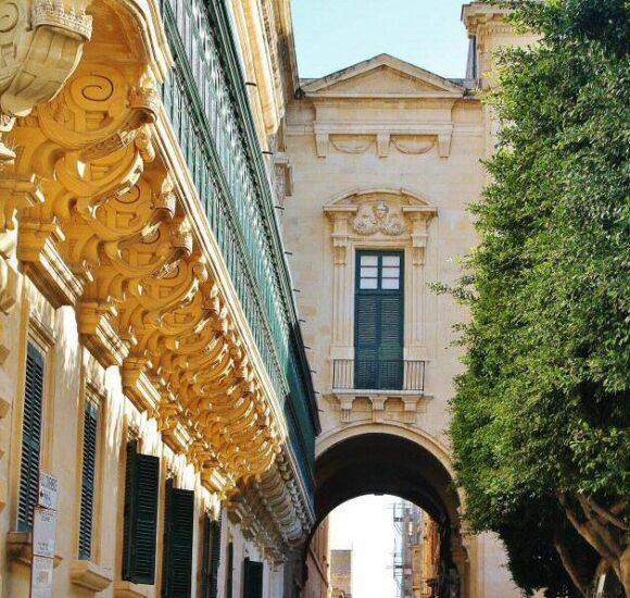 Rincón de la plaza de la República en La Valeta en Malta
