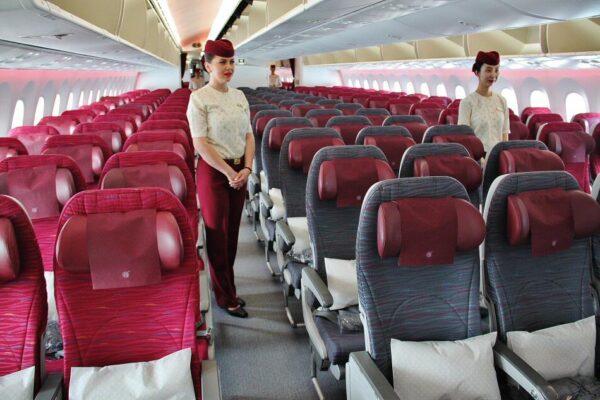 Interior de un avión de Qatar Airways