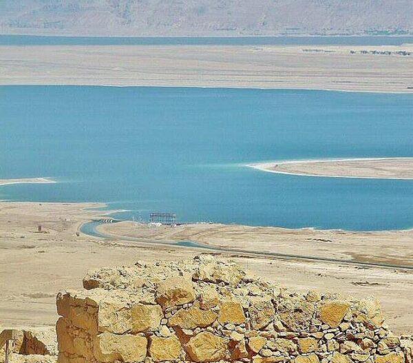Vistas panorámicas del Mar Muerto desde Masada en Israel