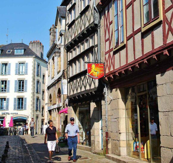 Rincón de Quimper en Bretaña en Francia