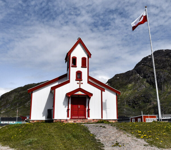 Iglesia en Narsaq en Groenlandia