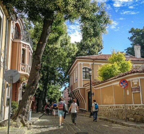 Rincón de la Ciudad Vieja de Plovdiv en Bulgaria