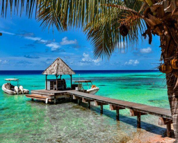 Rincón de la isla de Rangiroa en Polinesia Francesa