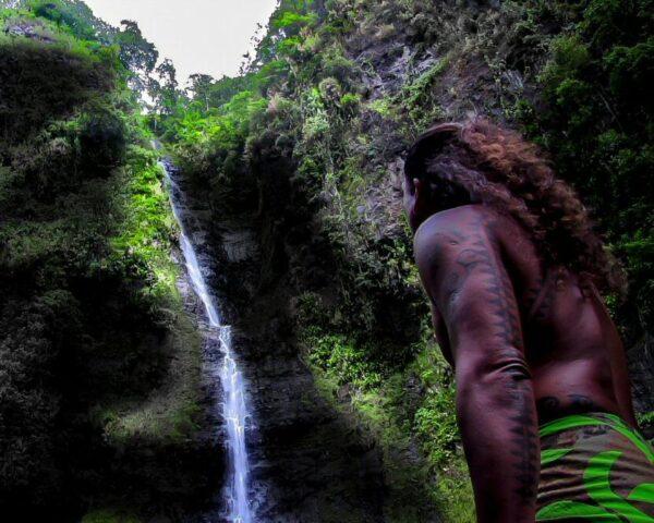 Cascada en el interior de Tahití en Polinesia Francesa