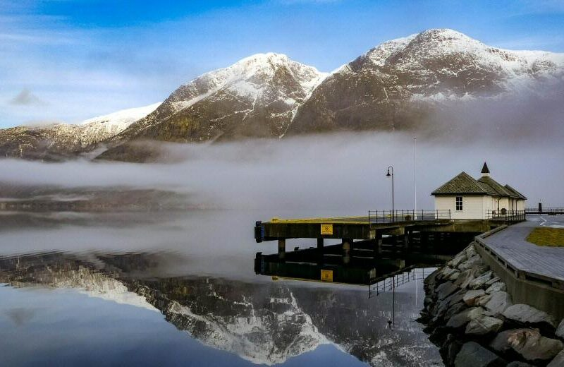 Paisajes de Eidfjord en el Fiordo Hardanger en Noruega