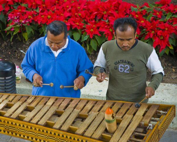 Músicos callejeros tocando marimba en Oaxaca en México