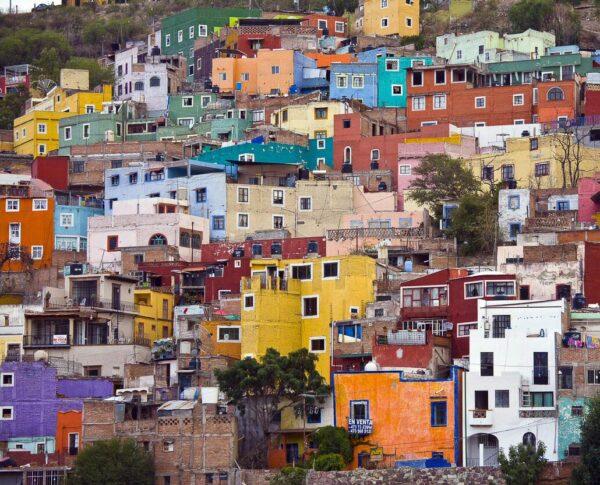 Casas de colores en Guanajuato en México