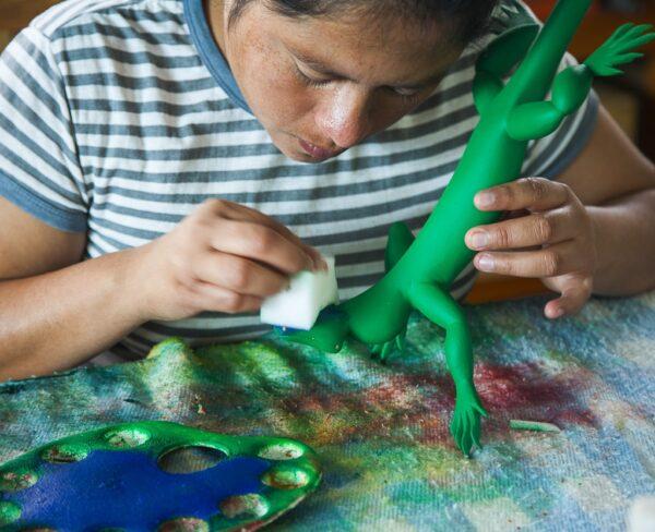 Artesanía en San Martín Tilcajete cerca de Oaxaca en México
