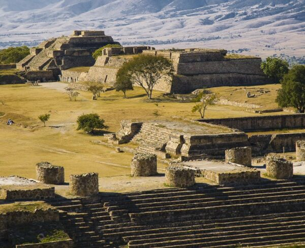 Zona arqueológica de Monte Albán en Oaxaca, Mexico