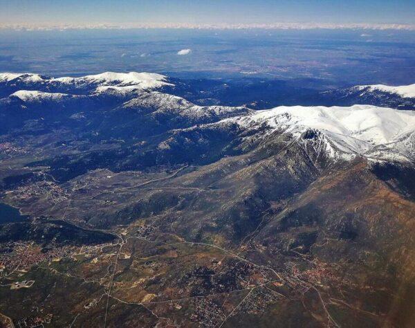 Vistas aéreas de la Sierra de Guadarrama en Madrid