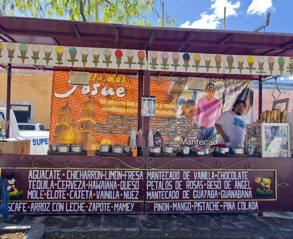 Puesto de helados en Dolores Hidalgo en México