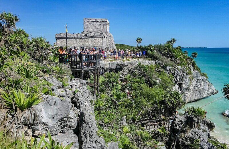 Antigua ciudad maya de Tulum en Yucatán en México
