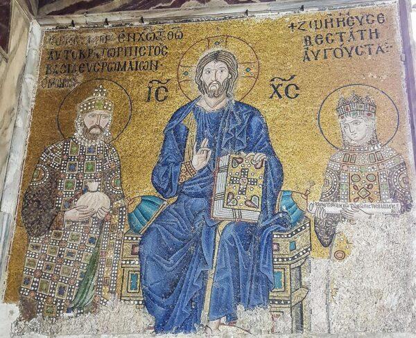 Mosaico de Jesucristo con el emperador Constantino IX Monomaco y la emperatriz Zoe en Santa Sofía en Estambul