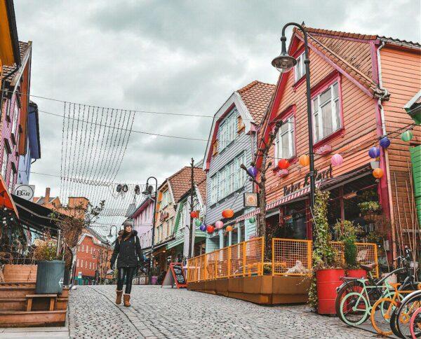 Casas de colores de Fargegaten en Stavanger