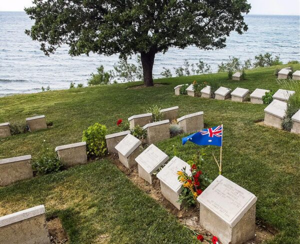Cementerio de la Playa en Anzac Cove en Galípoli en Turquía
