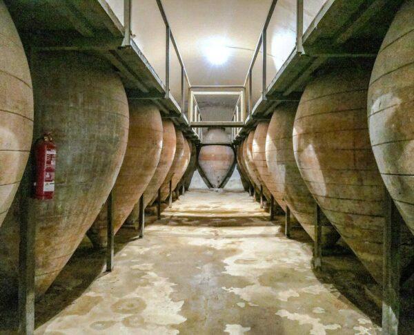 Nave de tinajas de barro en el museo del Vino de Valdepeñas