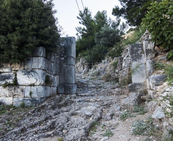 Puerta oeste de la muralla de Priene en Turquía
