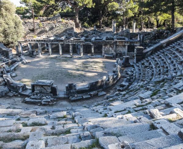 Teatro de la antigua ciudad griega de Priene en Turquía
