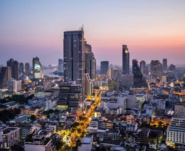 Vista nocturna de Bangkok